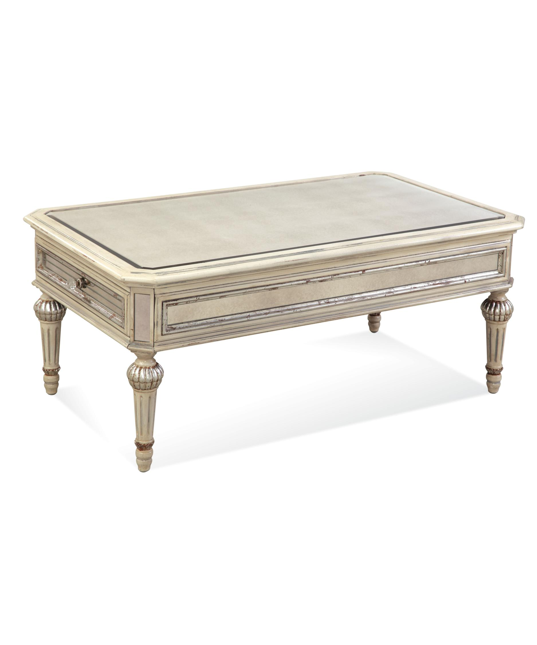 Bassett mirror company t2055 100 reflections coffee table for Antique cream coffee table