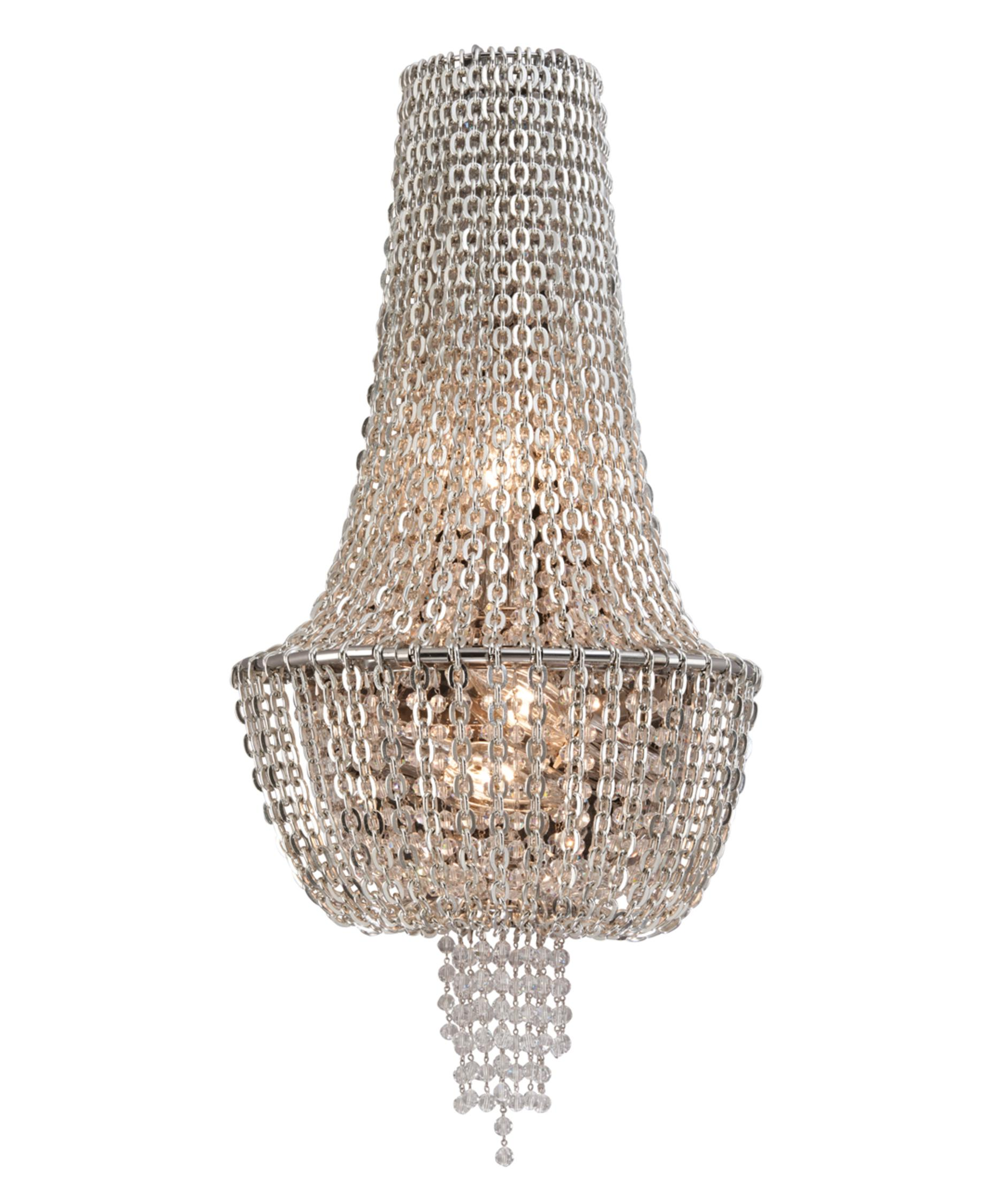corbett lighting  vixen  inch wide wall sconce  capitol  - shown in polished nickel jewelry chain finish and crystal beads crystal