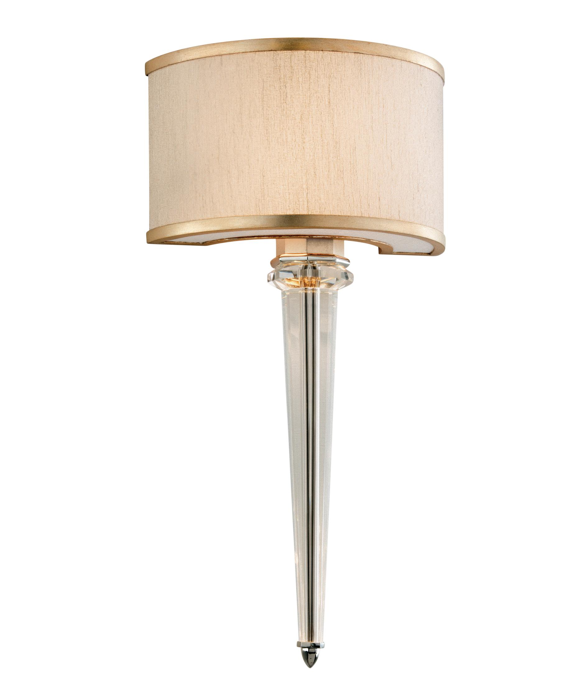 shown in tranquility silver leaf finish hardback ivory ice shade and crystal column accent - Corbett Lighting