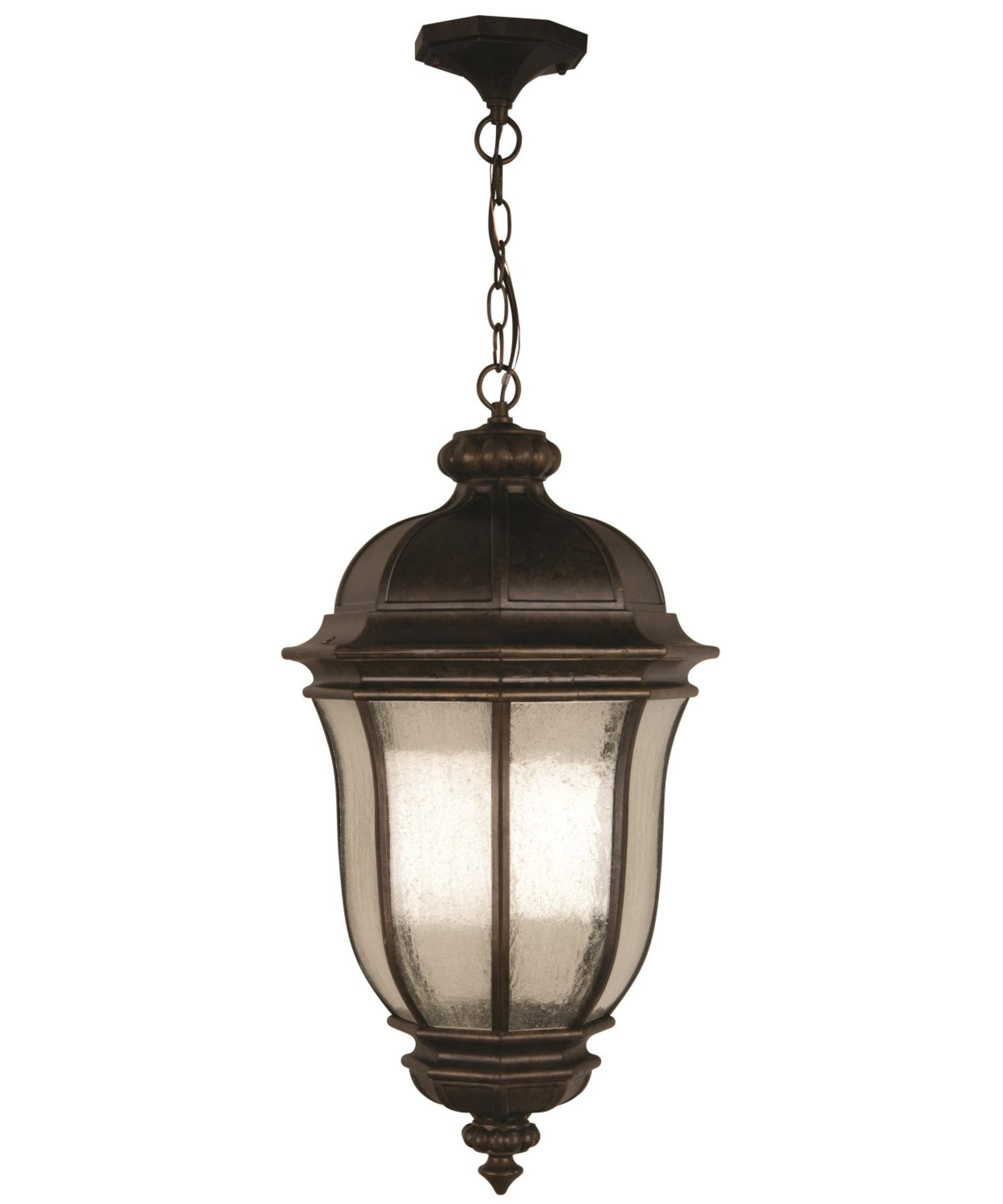 Outdoor hanging lamp - Shown In Peruvian Bronze Finish And Clear Seeded Glass