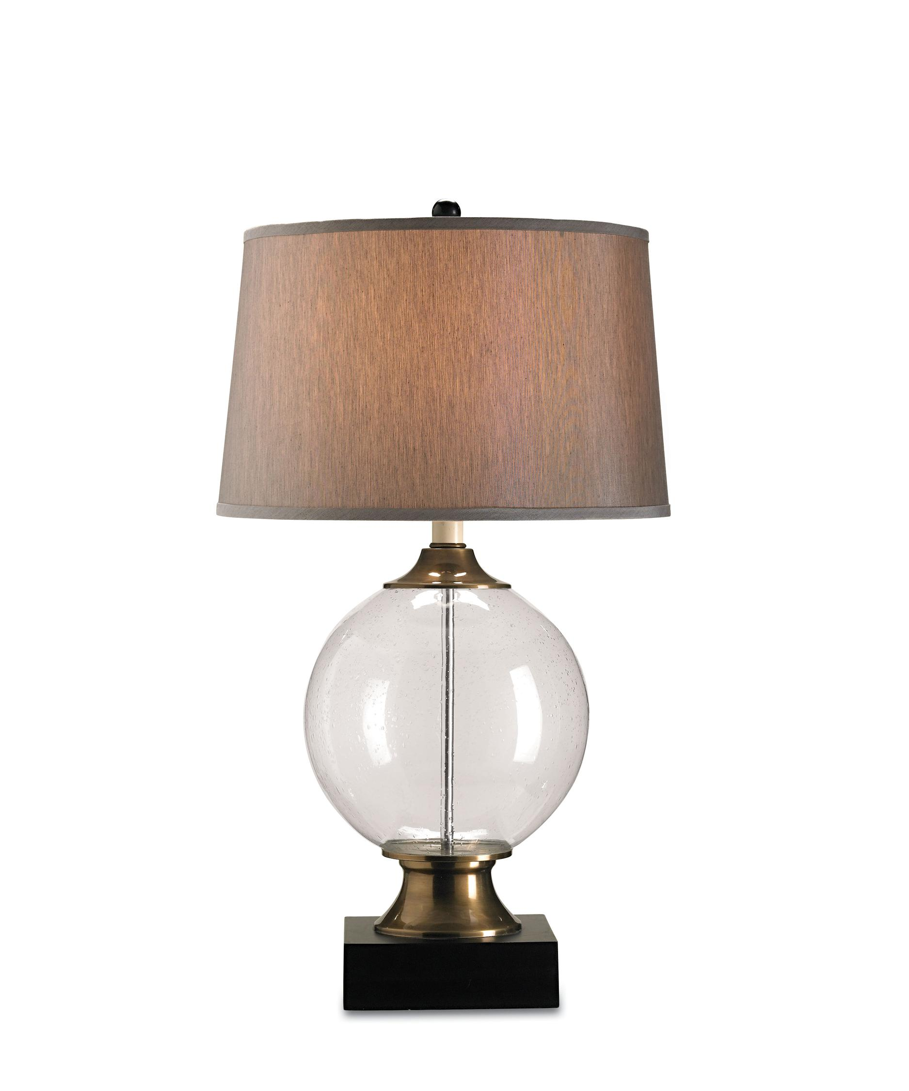 Blown glass table lamps - Shown In Blown Glass Black Finish Seeded Glass And Silver Shantung Shade