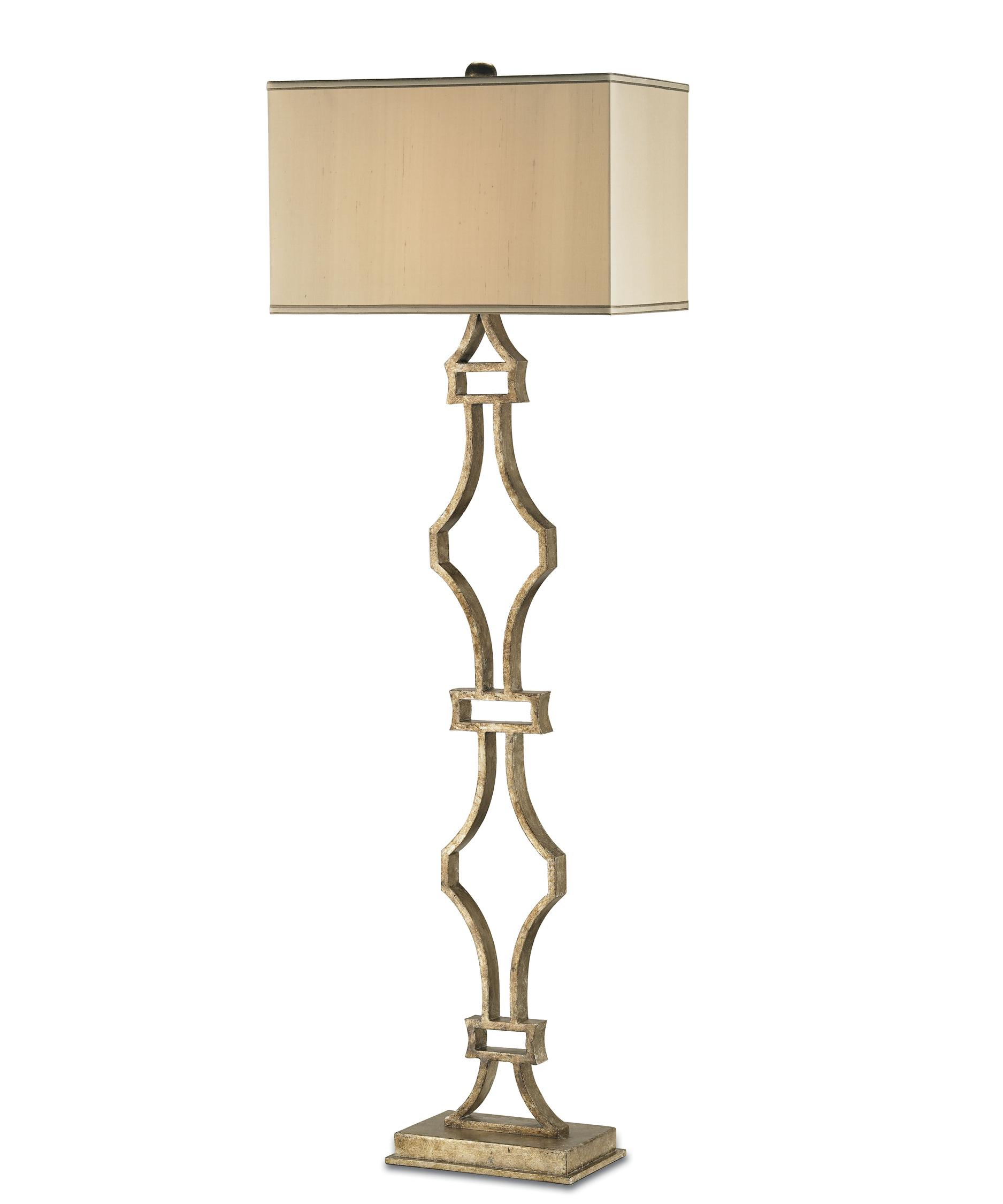 Traditional floor lamp - Shown In Antique Silver Leaf Finish And Champagne Silk Shade
