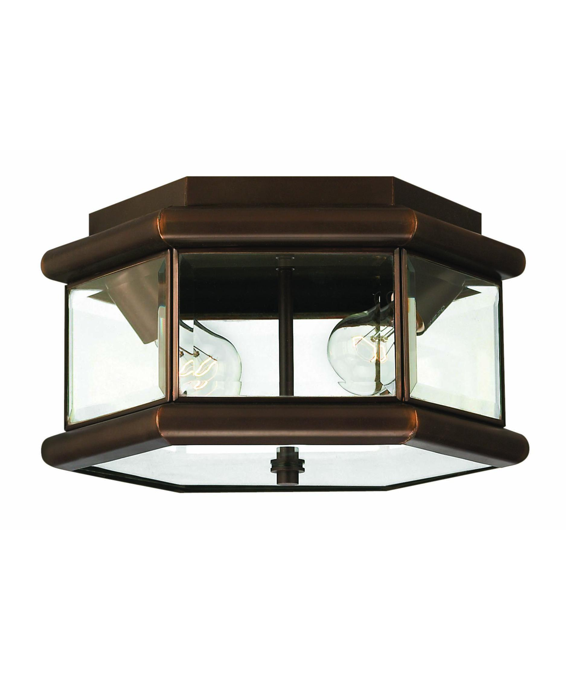 Flush mount outdoor lighting - Shown In Copper Bronze Finish And Beveled Clear Glass