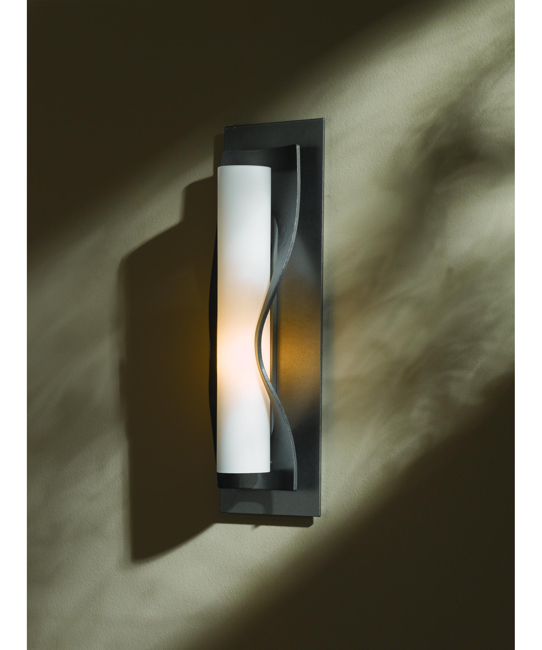 shown in burnished steel with opal glass - Hubbardton Forge