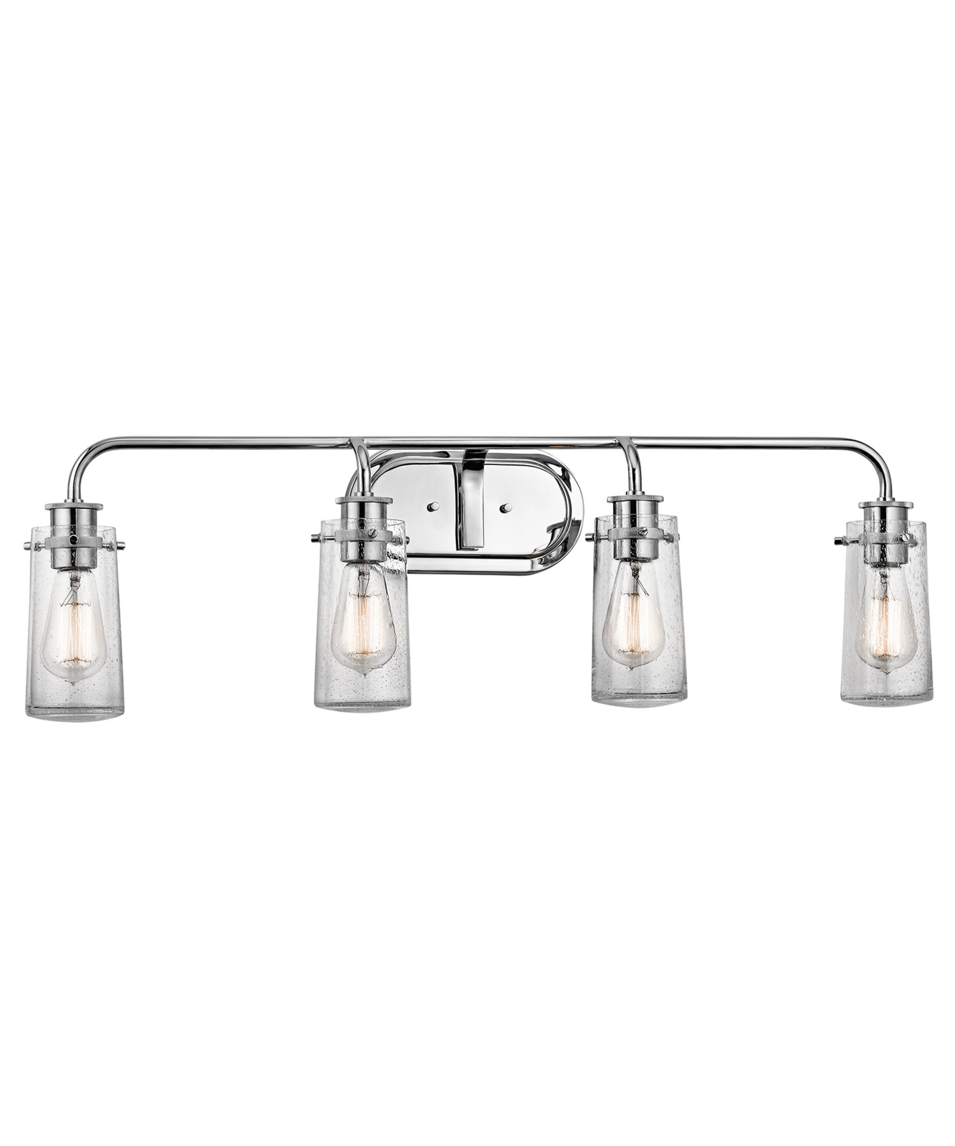 shown in chrome finish and clear seedy glass bathroom vanity lighting 1
