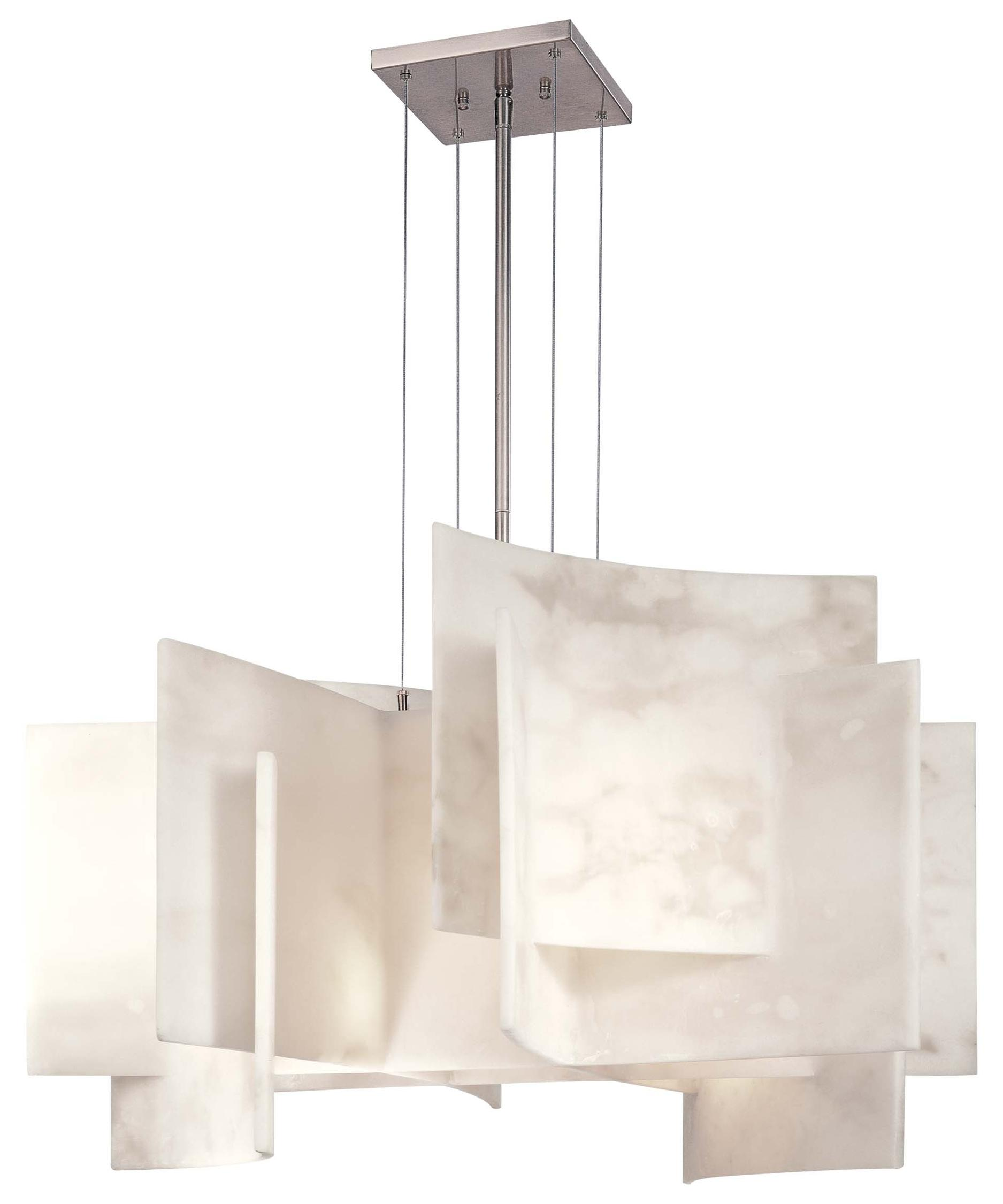 kovacs p alabaster  inch wide  light large pendant  capitol  - shown in brushed nickel finish and alabaster dust glass