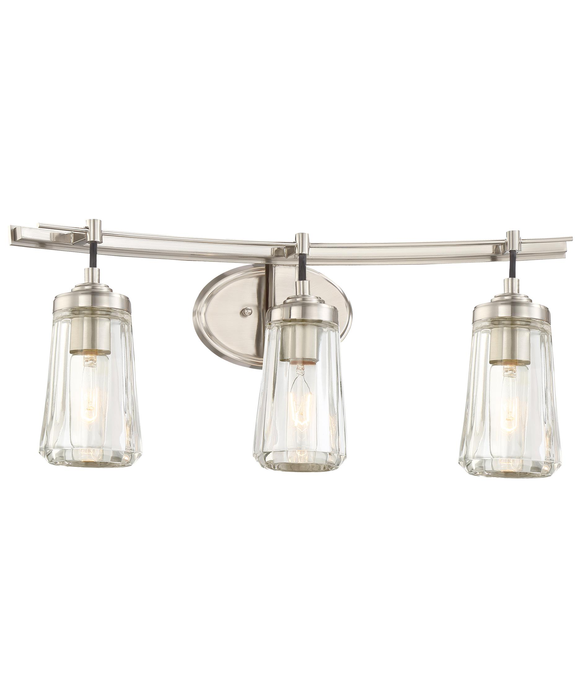 shown in brushed nickel finish and clear glass bathroom vanity lighting 1