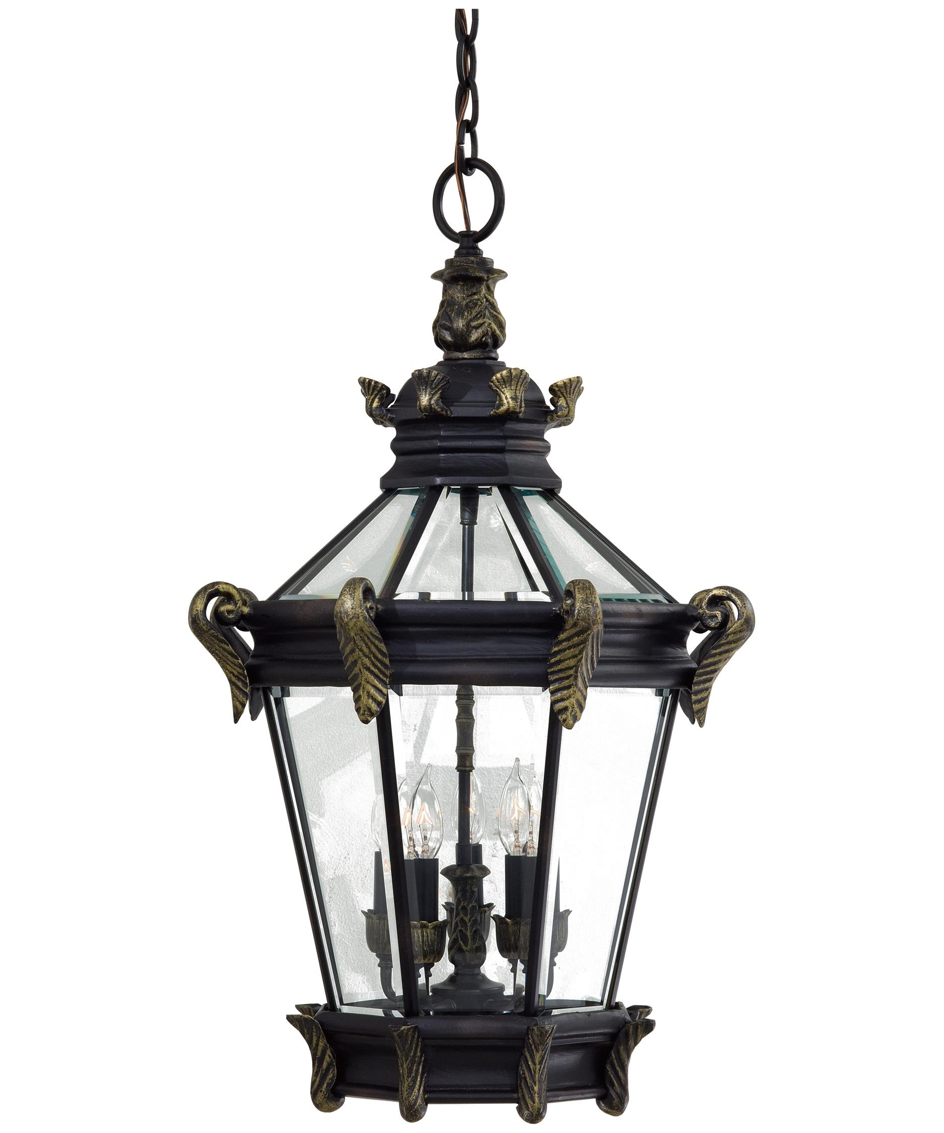 Outdoor hanging lamp - Shown In Heritage With Gold Finish And Clear Beveled Glass