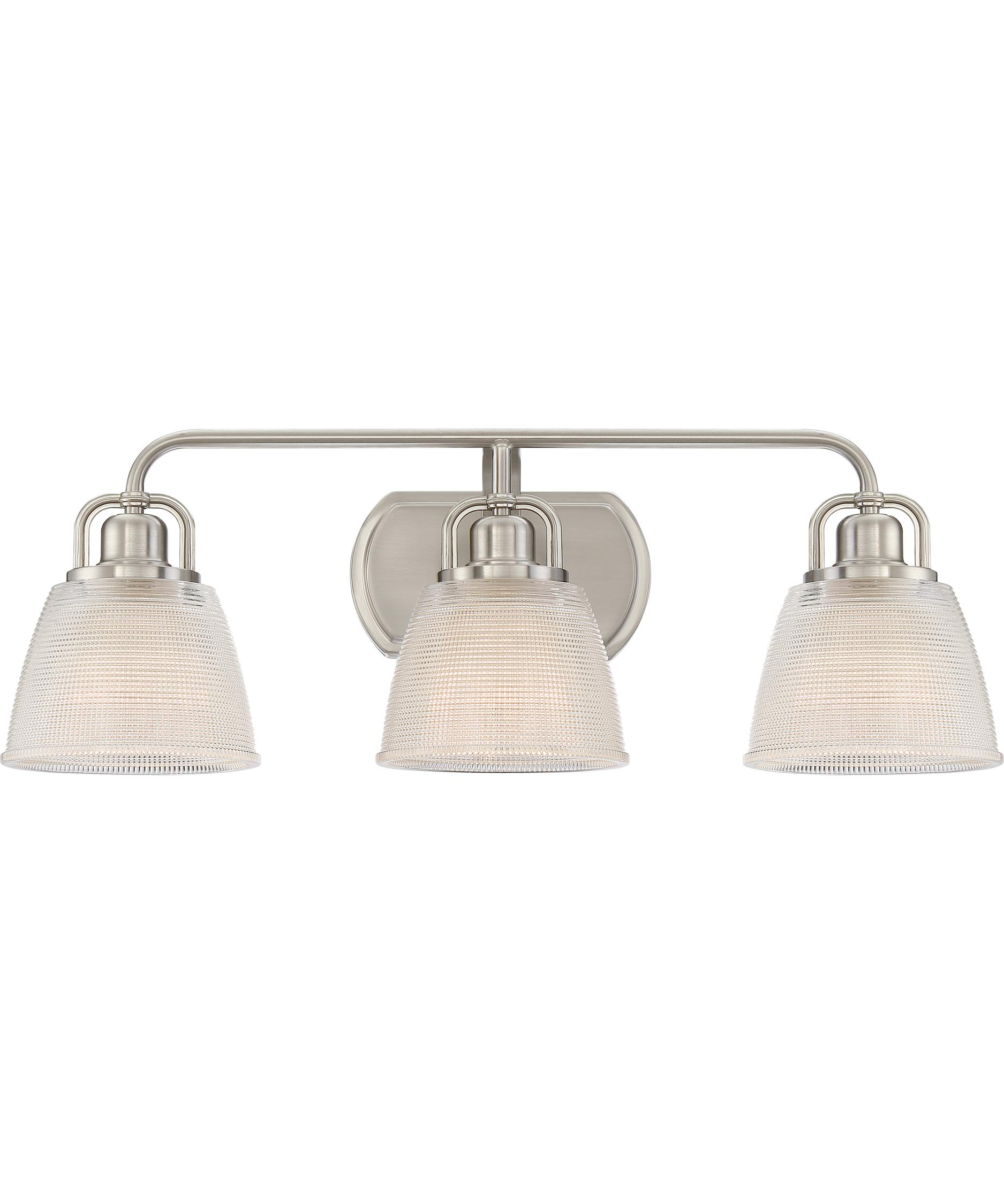 shown in brushed nickel finish and clear glass - Quoizel Bathroom Lighting