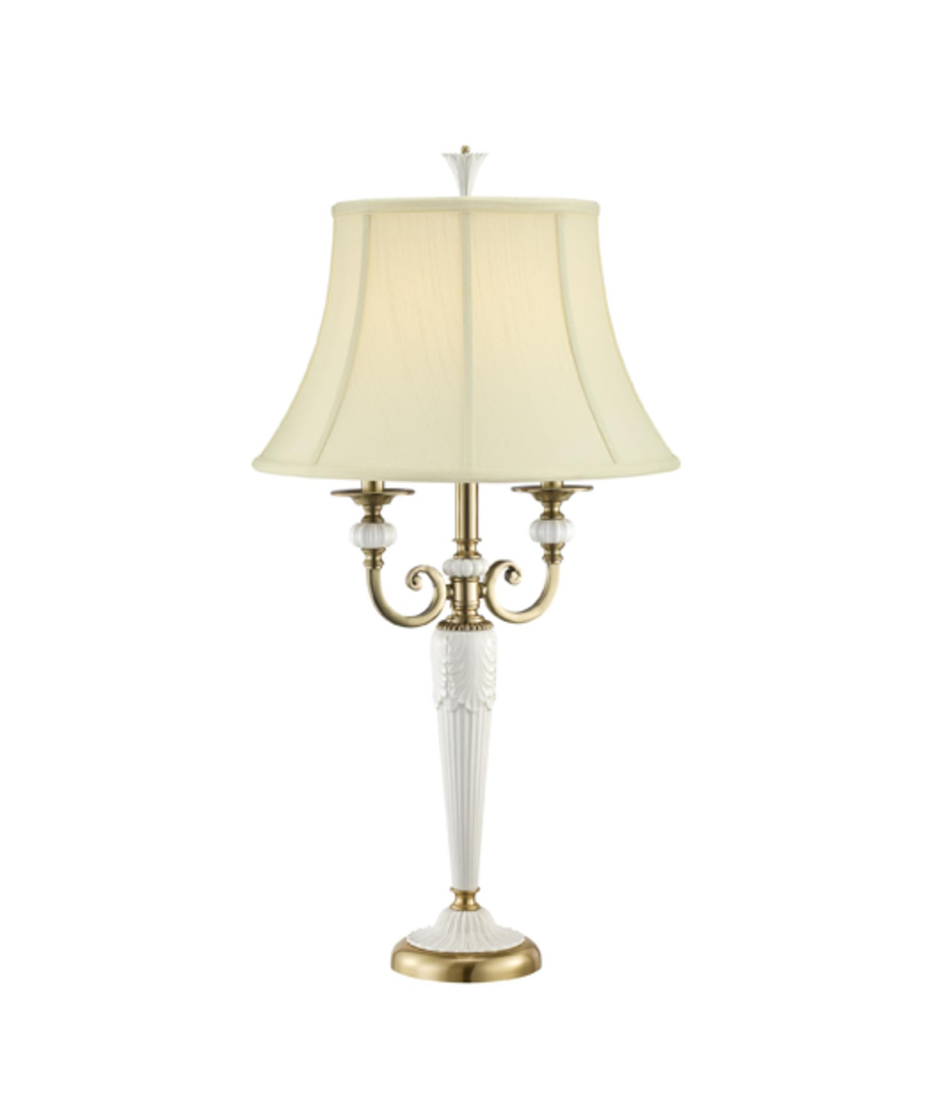 Shown In Burnished Brass Finish And Beige Fabric Shade