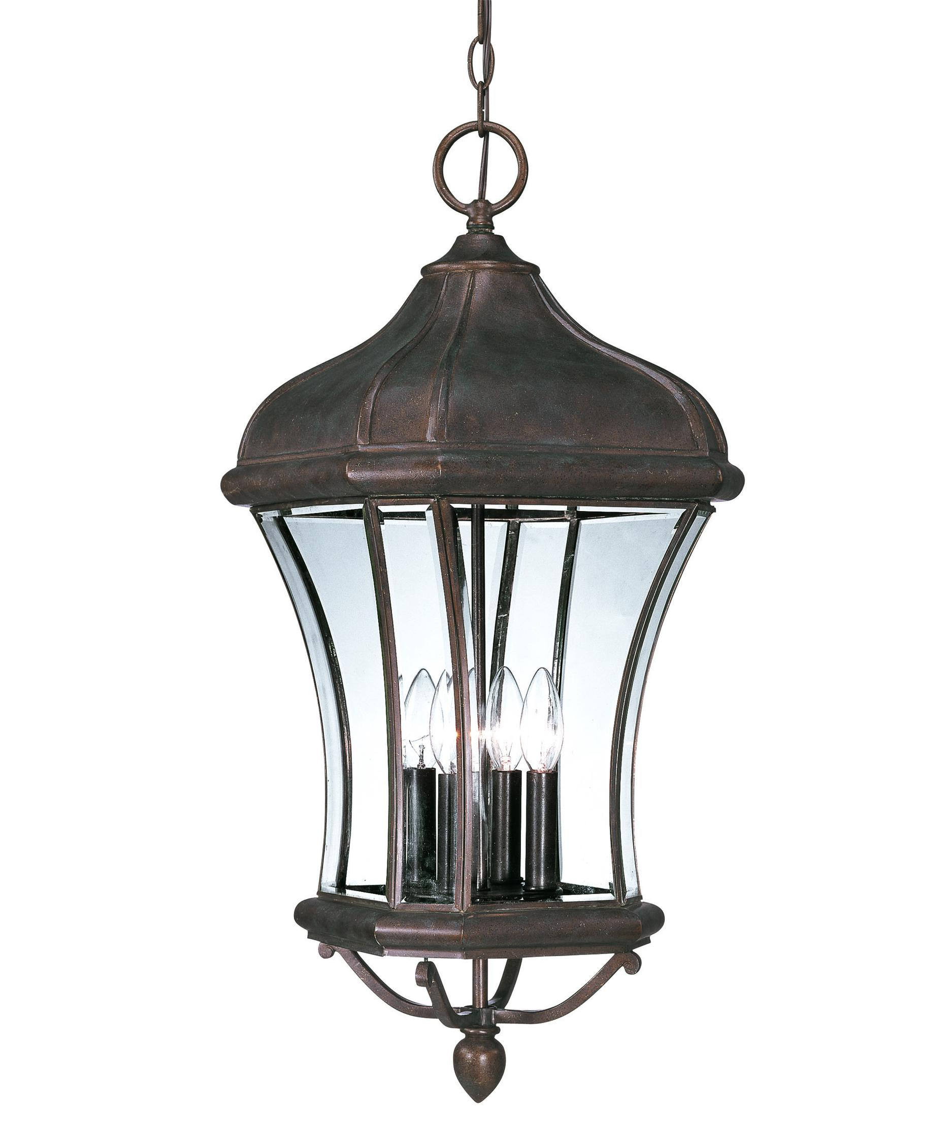 Outdoor hanging lamp - Shown In Walnut Patina Finish And Clear Beveled Glass