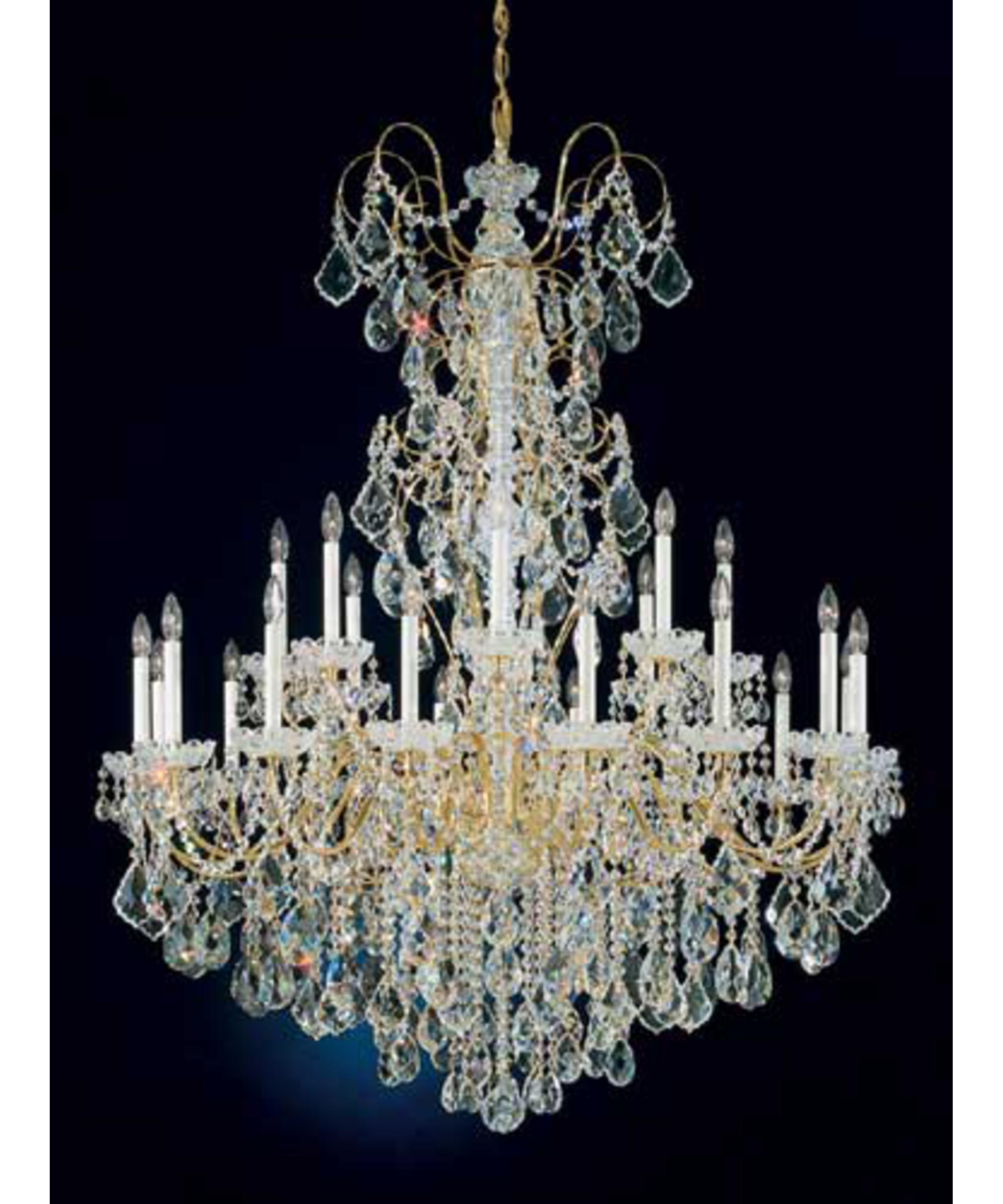 shown in polished gold finish with clear handcut crystal - Schonbek Chandelier
