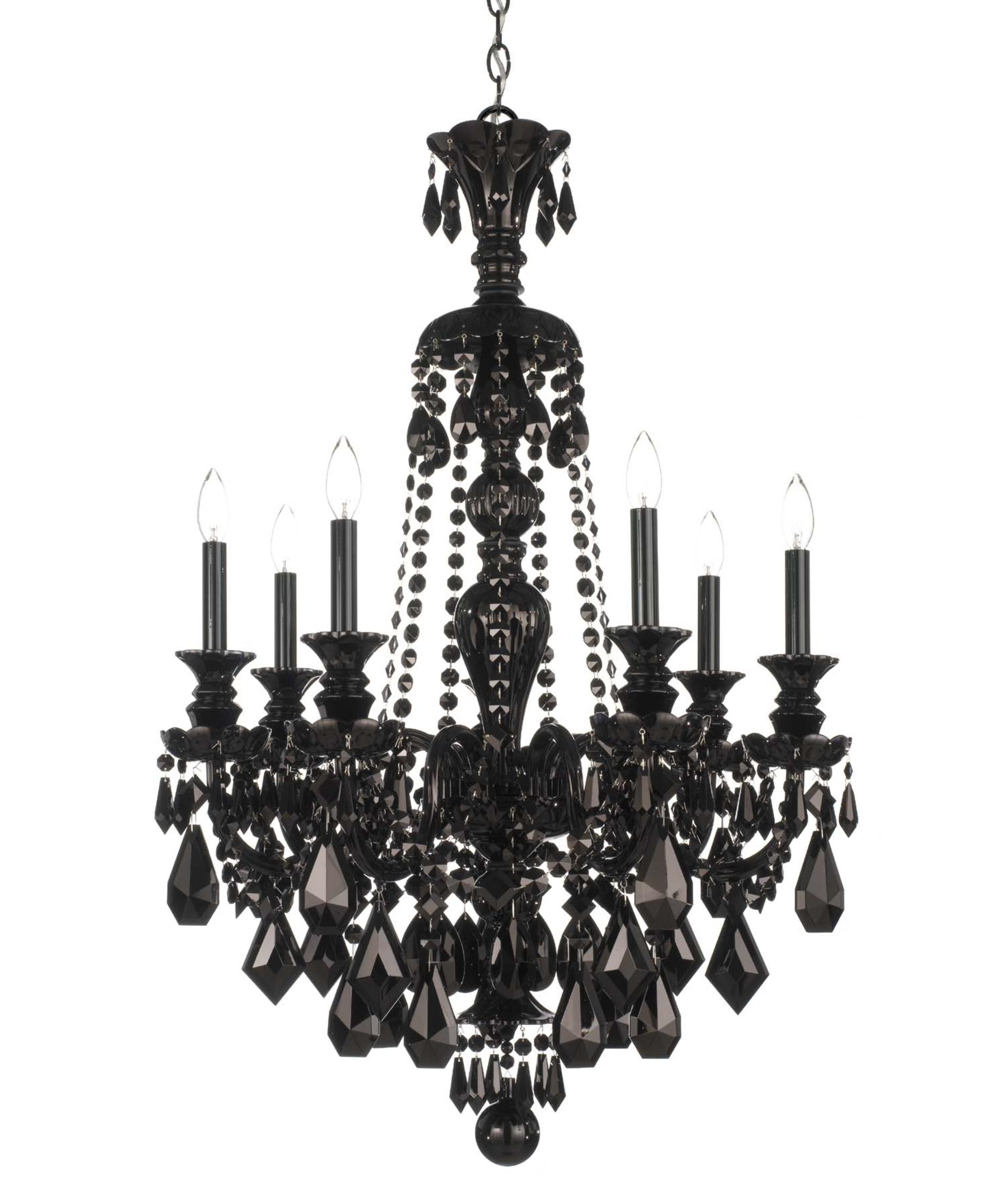 shown in wet black finish and jet black crystal black crystal chandelier lighting