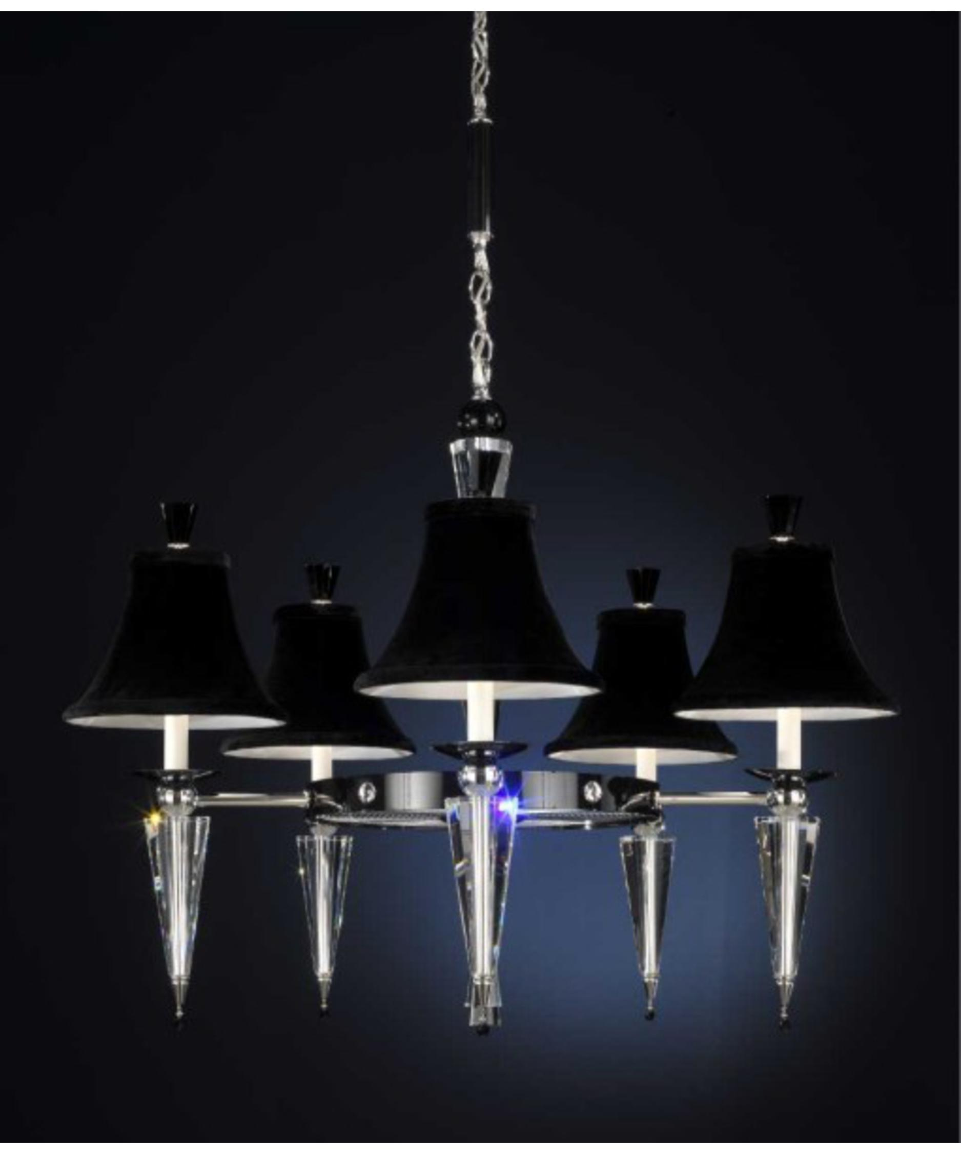 shown in silver finish clear swarovski elements crystal and black velvet shade - Schonbek