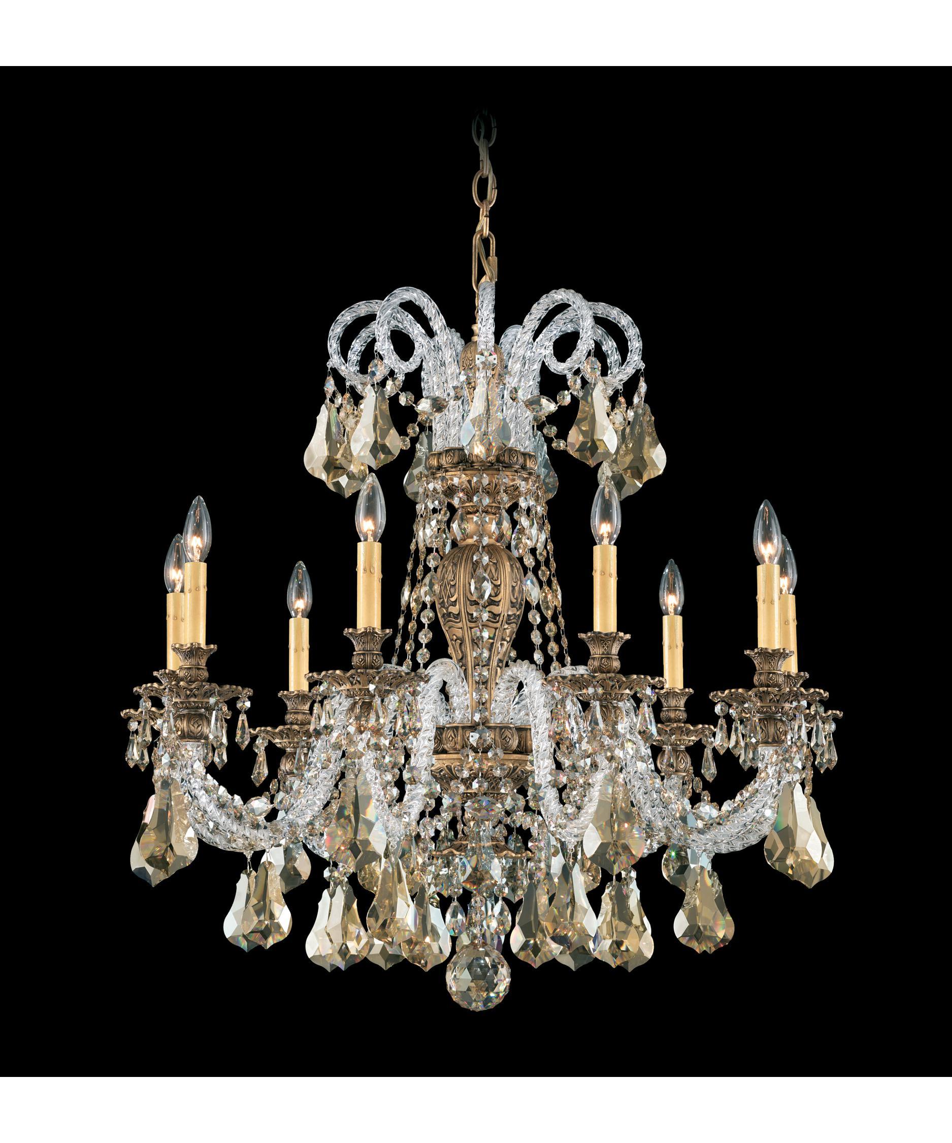 shown in florentine bronze finish and golden shadow swarovski elements crystal - Schonbek Chandelier