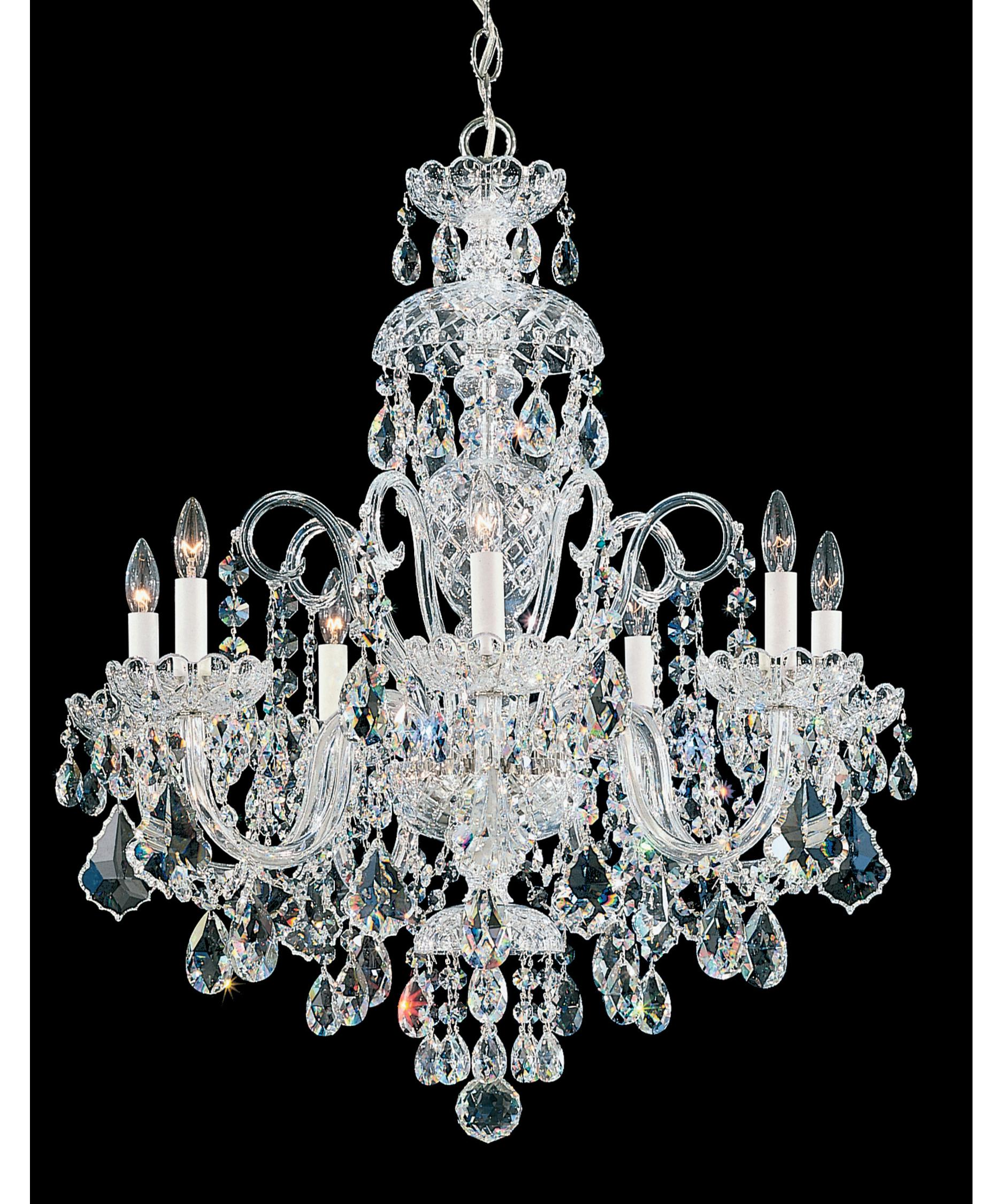 shown in silver finish and clear swarovski elements crystal - Schonbek Chandelier