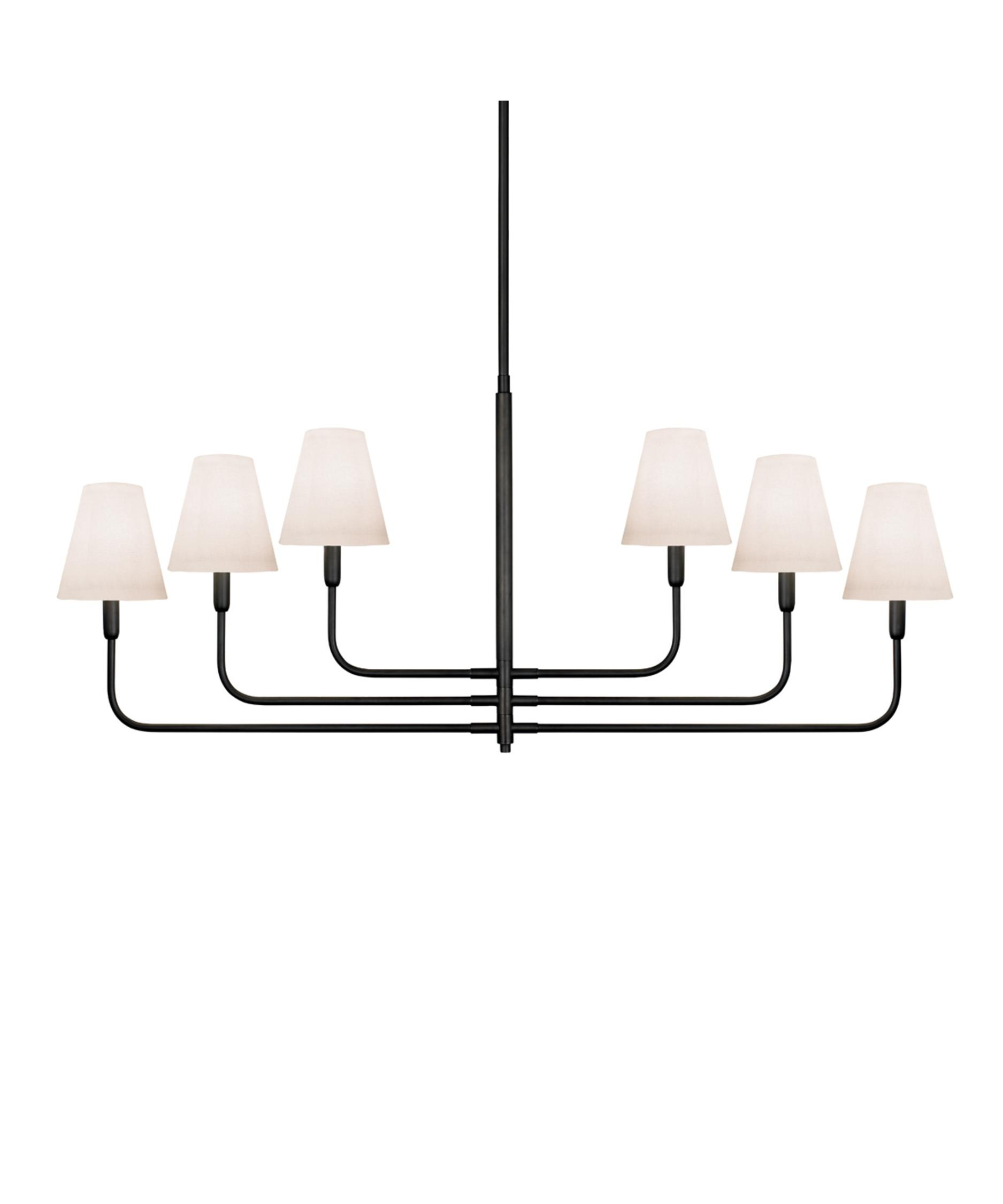 shown in rubbed bronze finish and offwhite linen shade - Sonneman Lighting
