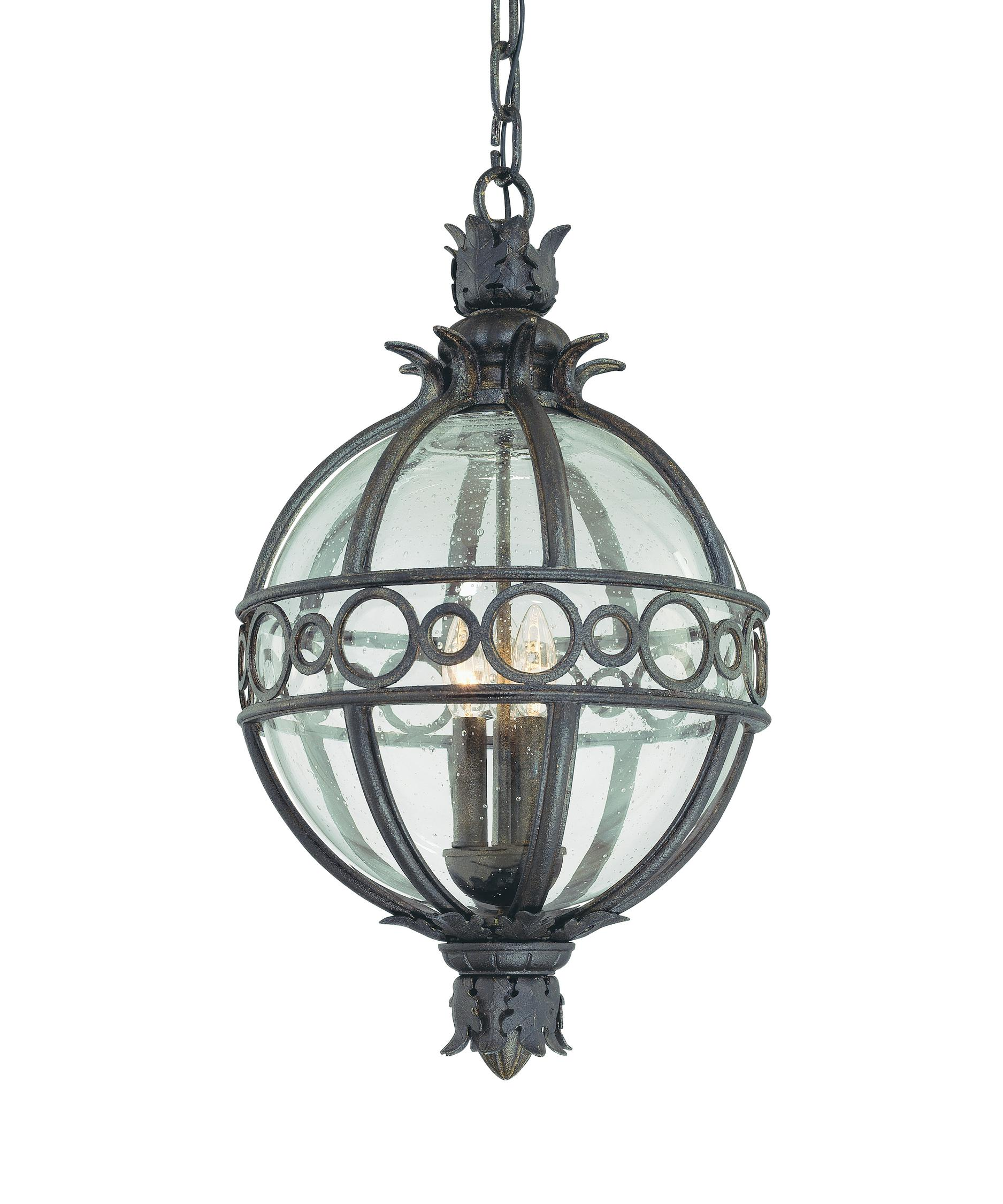 Outdoor hanging lighting - Shown In Campanile Bronze Finish And Clear Seedy Glass