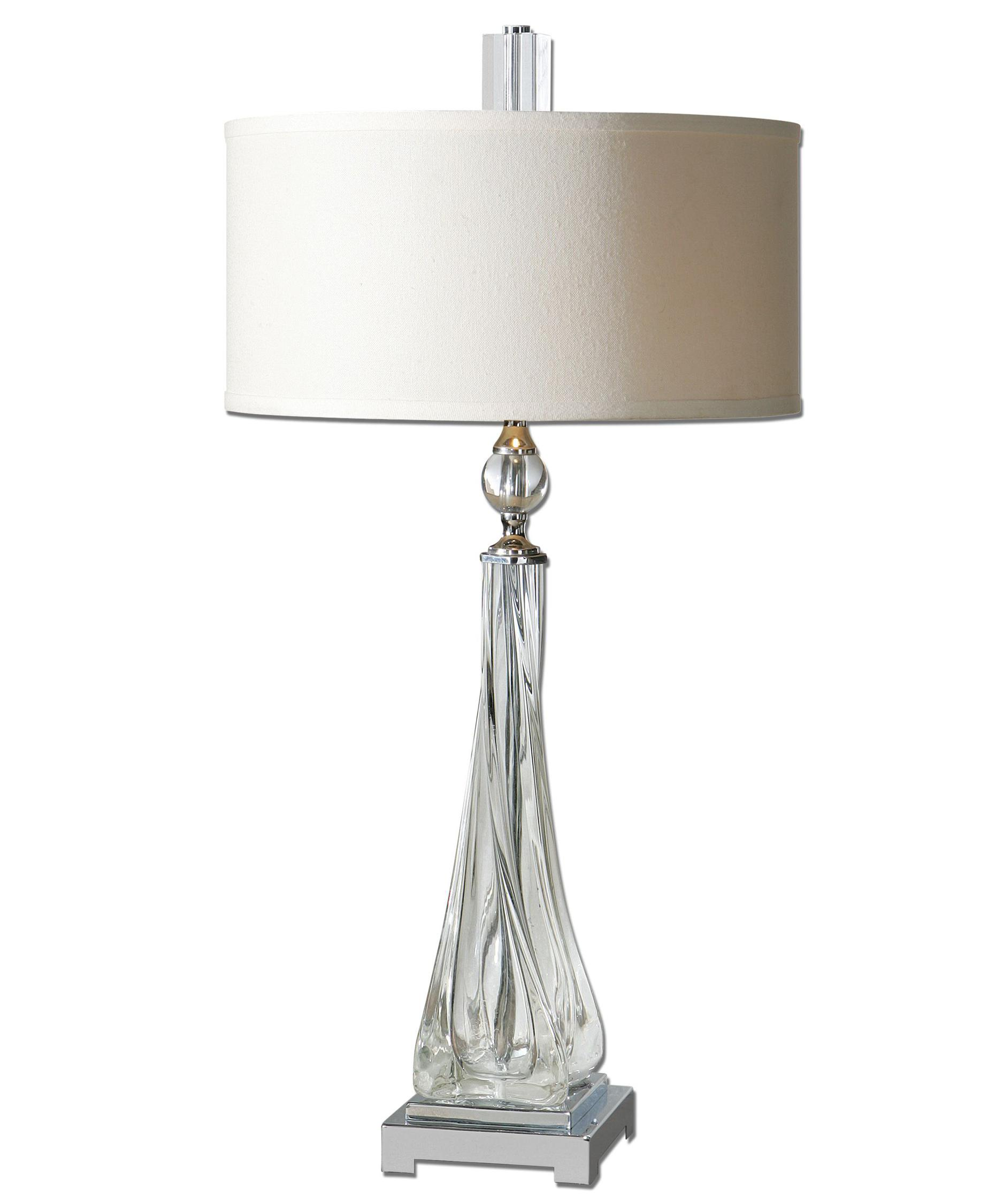 shown in polished nickel finish and round hardback drum shade - Uttermost Lighting