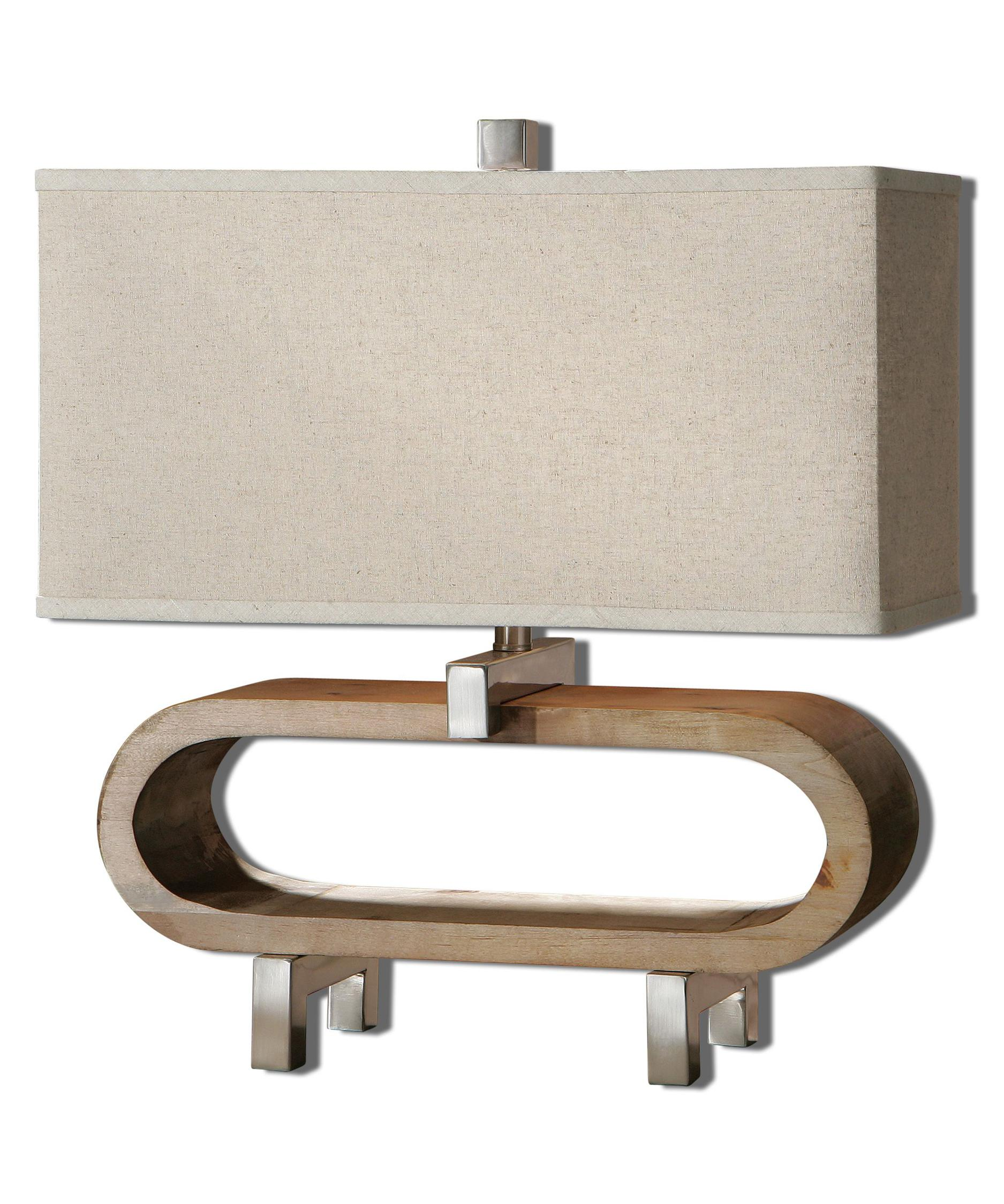 shown in polished chrome finish oatmeal linen shade and wood accent