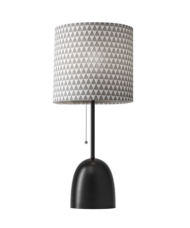 Shown in Black finish and Black And White Fabric shade