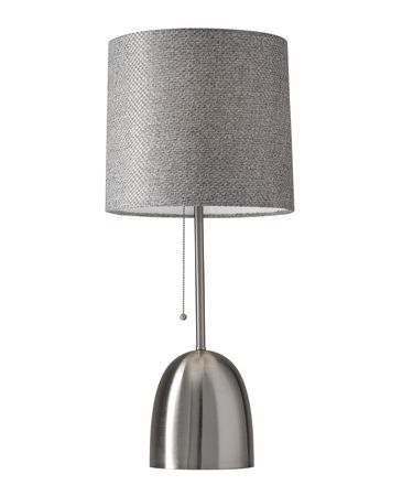 Shown in Brushed Steel finish and Grey Weave Fabric shade