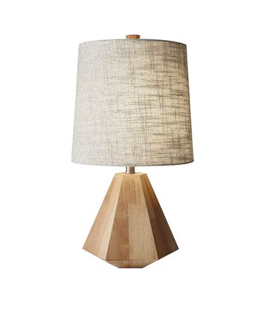 Shown in Natural Birch Wood finish and Textured Cream Fabric shade