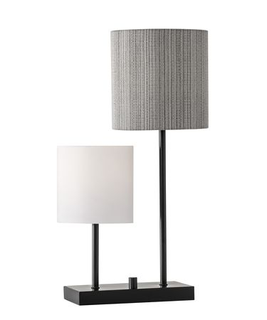 Shown in Black finish and White Linen-Black-Grey Striped Fabric shade