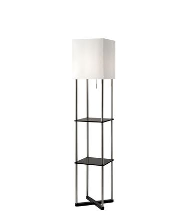Shown in Brushed Steel And Black Wood Paper Veneer finish and Textured White Fabric shade