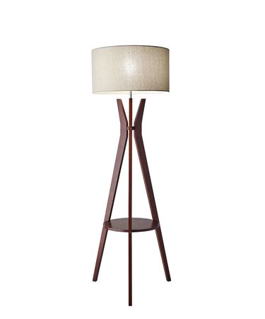 Shown in Solid Walnut Wood finish and Oatmeal Linen Fabric shade