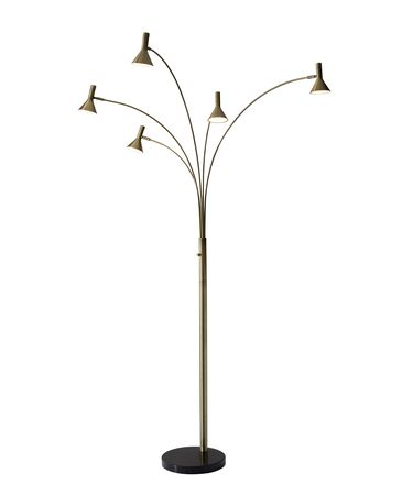 Shown in Antique Brass finish and Antique Brass shade