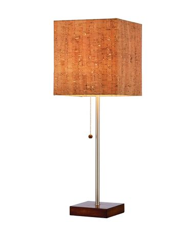 Shown in Walnut finish and Cork shade