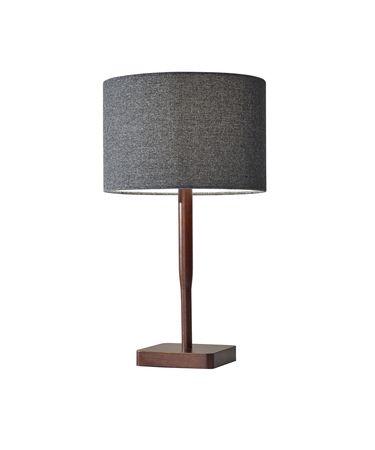 Shown in Walnut Rubber Wood finish and Dark Grey Textured Fabric shade