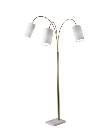 Shown in Antique Brass finish and White Linen glass