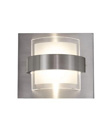 Shown in Polished Chrome finish and Frosted and Clear Recycled glass