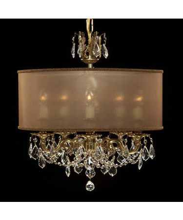 Shown in Polished Brass with Umber Inlay finish with Clear Precision Pendalogue crystal and Dark Copper shade