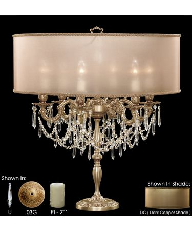 Shown in French Gold Glossy finish with Clear Precision U-Drop crystal, Dark Copper shade and Pale Ivory Wax Candle Cover