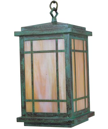 Shown in Verdigris Patina finish and Gold White Iridescent glass
