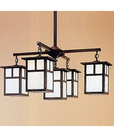 Shown in Rustic Brown finish with White Opalescent glass and T-Bar accent