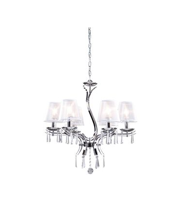 Shown in Chrome finish and White Organza shade