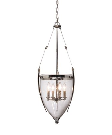 Shown in Chrome finish, Blown Glassware glass and Metal Wire shade