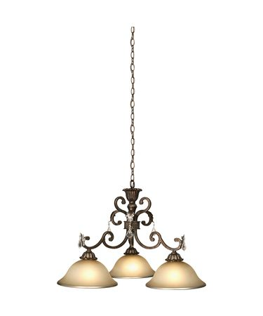 Shown in Bronze finish, Caramelized and Gold Trim glass and Light Cream Colored Glass shade