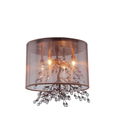 Shown in Oil Rubbed Bronze finish and Brown Organza shade