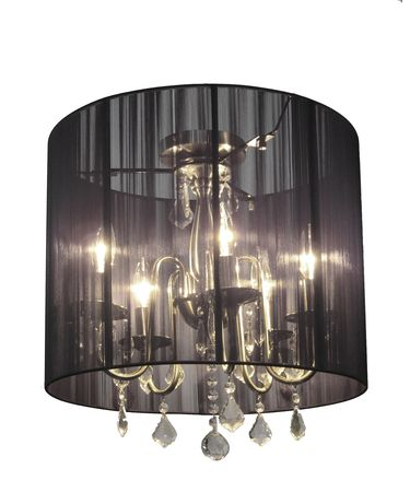 Shown in Satin Nickel finish, Crystal Accents crystal and Black String shade