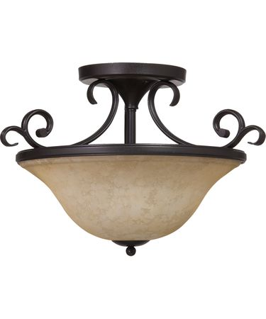 Shown in Oil Rubbed Bronze finish, Amber glass and Glass Candles accent