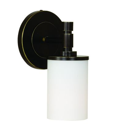 Shown in Oil Rubbed Bronze finish and White glass