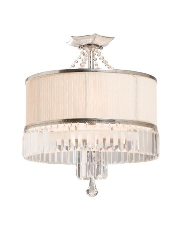 Shown in Distressed Pewter finish, Cut Crystal crystal, Frosted Diffuser glass and Crinkled Linen shade