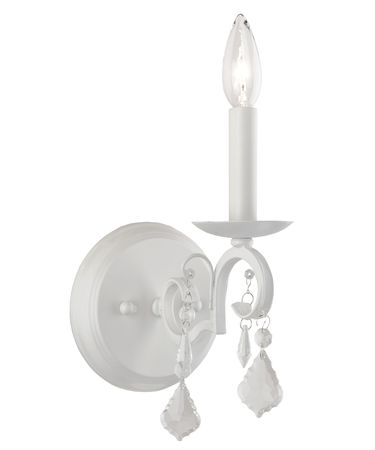 Shown in Antique White finish and Pendalogues crystal