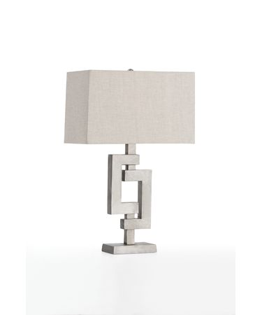 Shown in Antiqued Aluminum finish and Natural Linen Hardback shade