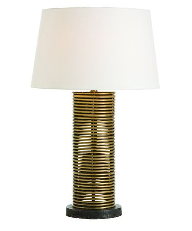 Shown in Vintage Brass finish, Yellow glass and Off-White shade